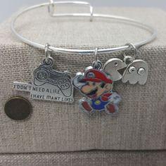 Gamer Pacman Mario Inspired Charm Bracelet Bangle Silver Tone Copper