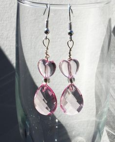 Pink heart and prism earrings by RosemarysHomestead on Etsy