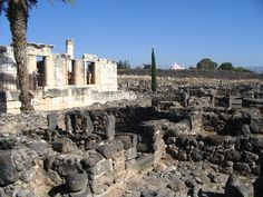 Capernaum. This village is on the northern side of Sea of Galilee, and was the center of the activities of Jesus and his town during that time. A grand 4th C  Ad Synagogue was excavated, which stood over the Synagogue from the time of Jesus.  It was also the home town of the apostles Peter, James, Andrew and John, and the tax collector Matthew.