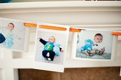 photo garland for baby's birthday