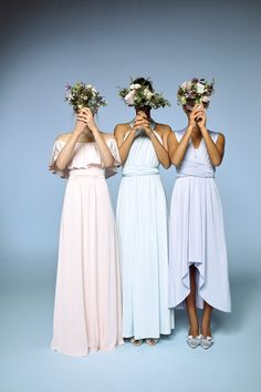Pastel multiway dresses for every bridesmaid's shape. - mismatched bridesmaids so they're comfortable and eclectic! Multiway Bridesmaid Dress, Bridesmaid Poses, Wedding Goals, Our Wedding, Dream Wedding, Wedding Stuff, Wedding Pics, Rustic Wedding, Wedding Venues