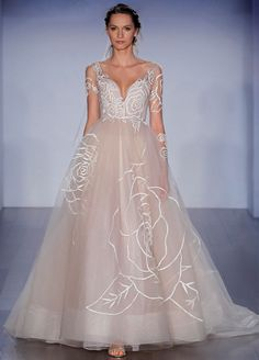 Rose embroidered Nude tulle bridal gown, low V-neckline with long sheer sleeve, natural waist, sweep train. Bridal Gowns, Wedding Dresses by Jim Hjelm Bridal - JLM Couture - Bridal Style jh8515 by JLM Couture, Inc.
