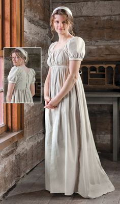 58226a34b8 What a regular girl working at her house would wear. Regency Gown