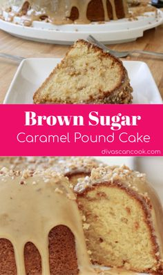 Moist & fluffy brown sugar caramel pound cake recipe from scratch. Simple homemade caramel glaze recipe with pecan and toffee. Brown Sugar Caramel Pound Cake Recipe, Caramel Glaze Recipe, Pecan Recipes, Gourmet Recipes, Dessert Recipes, Fall Cake Recipes, Oreo Dessert, Mini Desserts, Halloumi