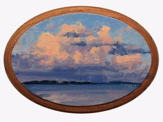 Clouds Over Belle Isle, Postcards from Detroit, Landscape, Oil Painting,  #Realism
