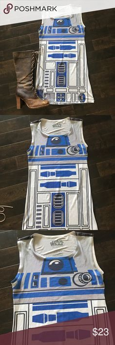 R2 D2 silky festival comicon Cosplay rave  dress So fun! Size medium. 100% polyester - feels silky and soft. Could use for a costume as well like Halloween. Star Wars Dresses Mini