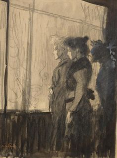 Théophile Steinlen (French/Swiss, 1859-1923), Night scene with two women in front of a shop window. Black chalk and watercolour, heightened with white, on wove paper, 36 x 26.5 cm.