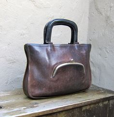 Vintage Coach distressed brown leather zip tote