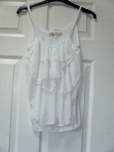 White cami, chiffon ruffle front, by Cameo Rose, small 8/10 Topshop/ASOS/Boho | eBay