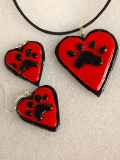PET LOVERS Valentine pendant earring set .Wear  with love for fur babys.I have 2 sets ready.The pendant is 2 inch X 2 .The earrings 1x1 in.. by Carrolcreates4u on Etsy