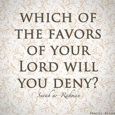 """""""Which of the favors of your Lord will you deny?""""-- Surah Ar-Rahman"""