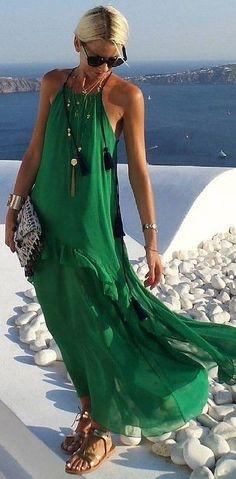 #summer #feminine #style |  Green Maxi Dress