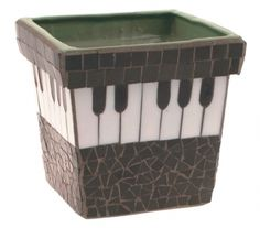 Music Mosaic Square Flower Pot Music Themed Gift, love this, would love to find this :) I have house plants! Mosaic Crafts, Mosaic Projects, Mosaic Art, Mosaic Glass, Stained Glass, Tile Mosaics, Mirror Mosaic, Mosaic Ideas, Mosaic Planters