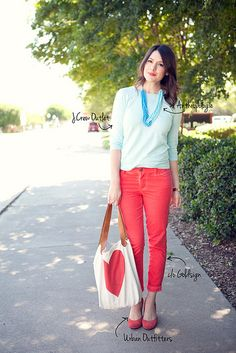 Summer meets winter!  Love the watermelon pants with turquoise.
