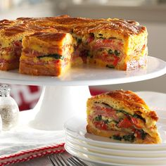 Italian Brunch Torte *leave out the mushrooms & spinach, add pepperoni & Swiss cheese