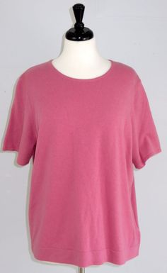 Jones New York Cashmere Sweater 2X Pink Short Sleeves #JonesNewYork #ScoopNeck #Work