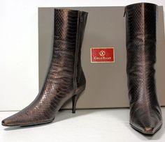 Women's Cole Haan Metallic Bronze Snake Embossed Mid-Calf Boots Heels sz 10½ B #ColeHaan #FashionMidCalf