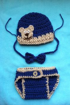 Baby Boy Crochet Hat Bow Tie and Diaper Cover by BrightCrochet, $28.00