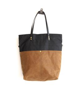 Waxed Canvas - MAREE - Fold Over Tote Bag - leather strap with crossbody option  by HOLM