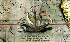 Victoria, the sole ship of Magellan's fleet to complete the circumnavigation. Detail from a map by Ortelius, 1590.