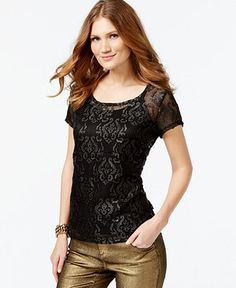INC International Concepts Faux-Leather-Trim Illusion Top, Only at Macy's - Tops - Women - Macy's