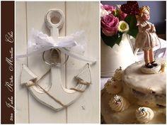 Anker als Ringkissen Alternative, aus Holz und im Shabby Chic Look - für maritime Vintage Hochzeiten mit Liebe zum Detail -   von Loveli-Hochzeitsplanung / Onlineshop - www.love-li.de