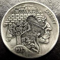 Hobo nickel pictorial silhouette by Shane Hunter. Italy Pictures, Hobo Nickel, Coin Art, World Coins, Coin Collecting, Trinket Boxes, Metal Art, Sculpture Art, Hand Carved