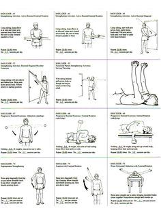 Rotator Cuff Exercise Regiment Handout. Repinned by SOS Inc. Resources. Follow all our boards at pinterest.com/sostherapy/ for therapy resources. Rotator Cuff Tear, Torn Rotator Cuff Exercises, Rotator Cuff Strengthening, Scapula Exercises, Tennis Elbow Exercises, Shoulder Tendonitis Exercises, Physical Therapy Exercises, Physical Therapy School, Hand Therapy