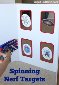 Spinning Nerf Targets DIY Cardboard Toy - Ideas of Nerf Gun - These targets spin when you hit them how fun! This is great for removing yourself as your child's Nerf gun target! Nerf Games, Fun Games, Activities For Kids, Party Games, Party Activities, Nerf Birthday Party, Nerf Party, Birthday Ideas, Birthday Boys