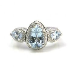 2.54+ctw+Aquamarine+&+0.14+ctw+Diamond+18K+White+Gold+Ring