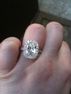 Henri Daussi antique vintage halo cushion cut #dream ring