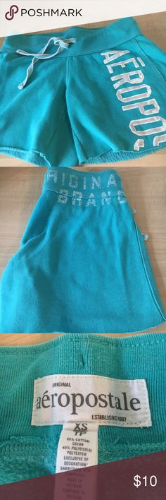 """Aeropostale Gym Shorts Comfy gym shorts, 60% cotton and 40% polyester. Waist measures at 13"""" without stretch, lying flat and length is 11 1/2"""" . Gentle, and a very good used condition. Aeropostle Shorts"""