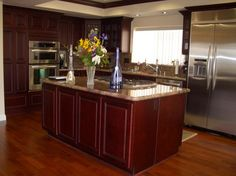 Kitchen, Appealing Pics Of Cherry Kitchen Cabinets Also Cool Kitchen Countertop And Kitchen Island Plus Washstand With Stainless Steel Oven And Backsplash Also Laminate Flooring Ideas: Some Things About Cherry Kitchen Cabinets