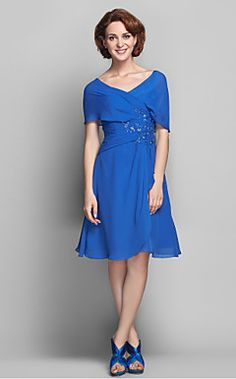 A-line V-neck Chiffon Mother of the Bride Dress (568153) – USD $ 149.99