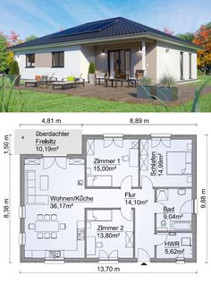 Fertighaus Bungalow SH 117 B Variante A mit Walmdach - ScanH.-Fertighaus Bungalow SH 117 B Variante A mit Walmdach – ScanHaus Marlow Café Exterior, Bungalow Exterior, Bungalow House Plans, House Floor Plans, Living Haus, Living Room, House Map, Town House, Roof Architecture