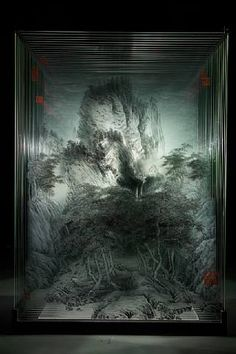 3D Glass Painting by Xia Xiaowan. 3D effect created using layers of glass pane.