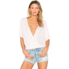 LA Made Ines Crossover Top ($60) ❤ liked on Polyvore featuring tops, fashion tops, surplice top, cross front top, la made, pink top and cross over top