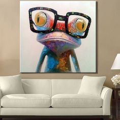 hot-selling-new-product-FROG-WITH-GLASSES-home-and-hotel-decor-oil-painting-YB- (3)