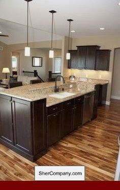 Fabulous Tips and Tricks: Kitchen Remodel Before And After Bath galley kitchen remodel ideas.Small Kitchen Remodel With Island condo kitchen remodel quartz counter.Mobile Home Kitchen Remodel Farmhouse Style. Kitchen Island With Granite Top, Dark Kitchen Cabinets, Kitchen Redo, New Kitchen, Kitchen Dining, Kitchen Ideas, Condo Kitchen, Espresso Cabinets, Floors Kitchen