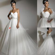 Off-Shoulder Chiffon Tiereed Ball Gown Wedding Dress