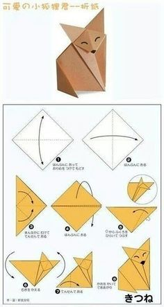 DIY by M.: printable pour le petit prince Pluslittle prince fox origami - party craft ideaPlaying and Crafting: How to Make Fox - Origami Pretty clear visual on folding this cute guy.Origami fox - the instructions aren't in English, but the diagram i Origami Design, Instruções Origami, Origami Simple, Origami And Kirigami, Paper Crafts Origami, Paper Crafting, Origami Fox Easy, Easy Oragami, Origami Bookmark