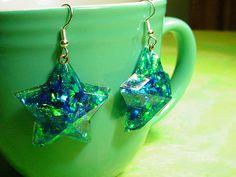 EoCot Silver Plated Blue Green Crystals Women Girls Star Drop Earrings