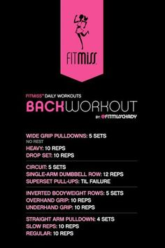 FitMiss Back Workout by malinda Gym Workouts, At Home Workouts, Lower Ab Workouts, Fitness Diet, Fitness Motivation, Body Fitness, Physical Fitness, Muscle Pharm, Back And Biceps