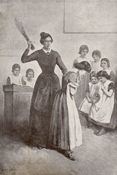 """""""Jane Eyre"""" by Charlotte Bronte. Cruelty at Lowood School, Helen Burns is birched across her shoulders Helen Burns, Charlotte Bronte Jane Eyre, Bronte Sisters, Vintage School, Period Dramas, Women In History, Jane Austen, Vintage Photographs, Historical Photos"""