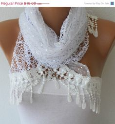 BIG SALE White  Shawl Scarf - Lace Scarf -  Cowl with Sequin Lace Edge fatwoman - Bridesmaids Gifts via Etsy