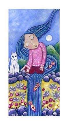 Sleeping Meditating Girl with White Cat  by LindyLonghurst on Etsy