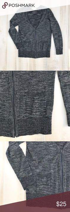 """LOFT Zip Sweater Cardigan Dark Gray Size Medium LOFT Zip Sweater Cardigan Dark Gray Size Medium   Chest: 17 (Pit to Pit) Length: 26"""" Arm Length: 22""""  69% Cotton, 31% Rayon LOFT Sweaters"""