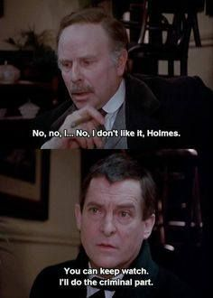 """""""I'll do the criminal part."""" What are friends for. :) The Bruce-Partington Plans Jeremy Brett Sherlock Holmes, Detective Sherlock Holmes, Adventures Of Sherlock Holmes, Sherlock Bbc, Granada, The Science Of Deduction, Holmes Movie, Best Mysteries, 221b Baker Street"""
