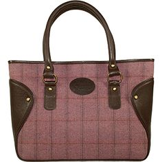 Dee Two British Tweed Heather East West Shopper Bag Country Cognac The Country Cognac range of handbags and accessories combines the luxury of