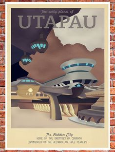 Retro Travel Poster Star Wars Utapau by TeacupPiranha